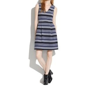 Madewell Ottoman Ridge Stripe V Neck Dress